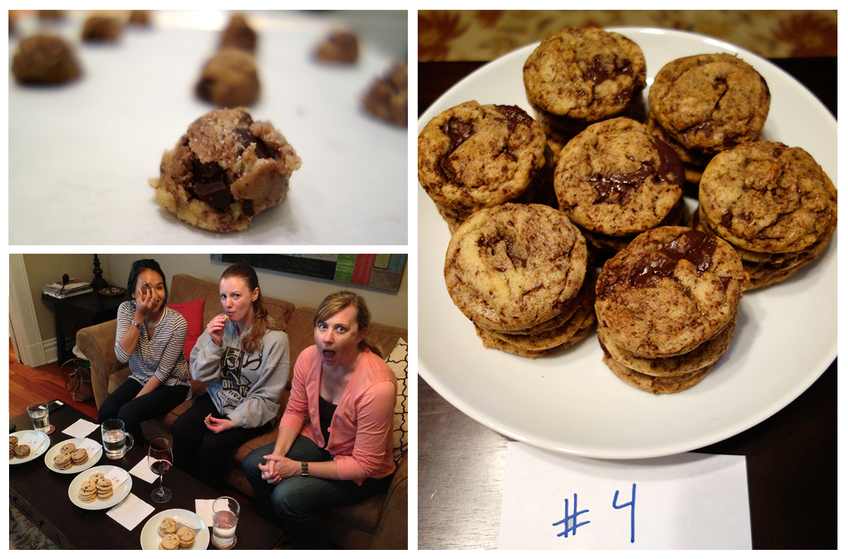 NY Times Chocolate Chip Cookies and the taste testers in action.