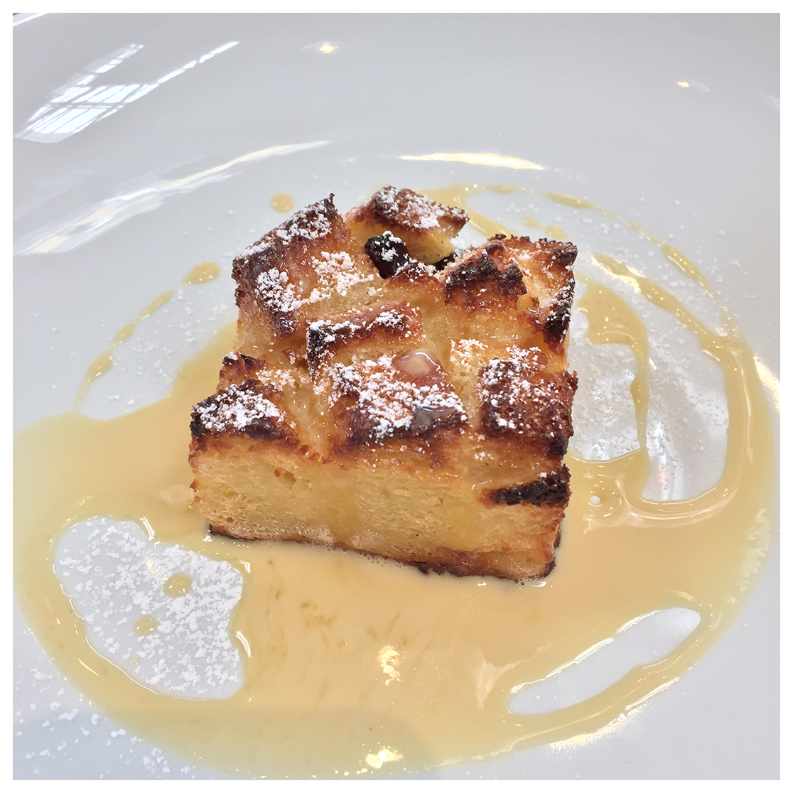 Candy Cap Bread Pudding with Maple Creme Anglaise