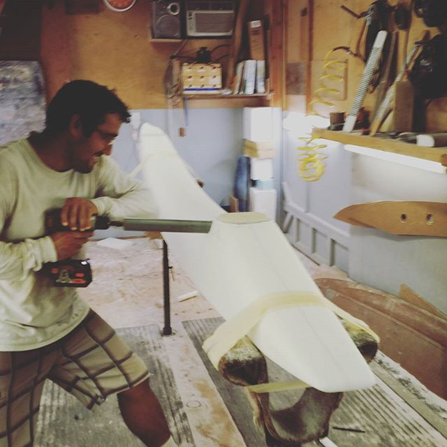 Using some homemade precision tools.... Prepping our @sicmauicustom OC-4 Ama for glassing. Shaped by @markraaphorst .  #custom #handmade #madeonmaui #sicmaui #BoundByWater