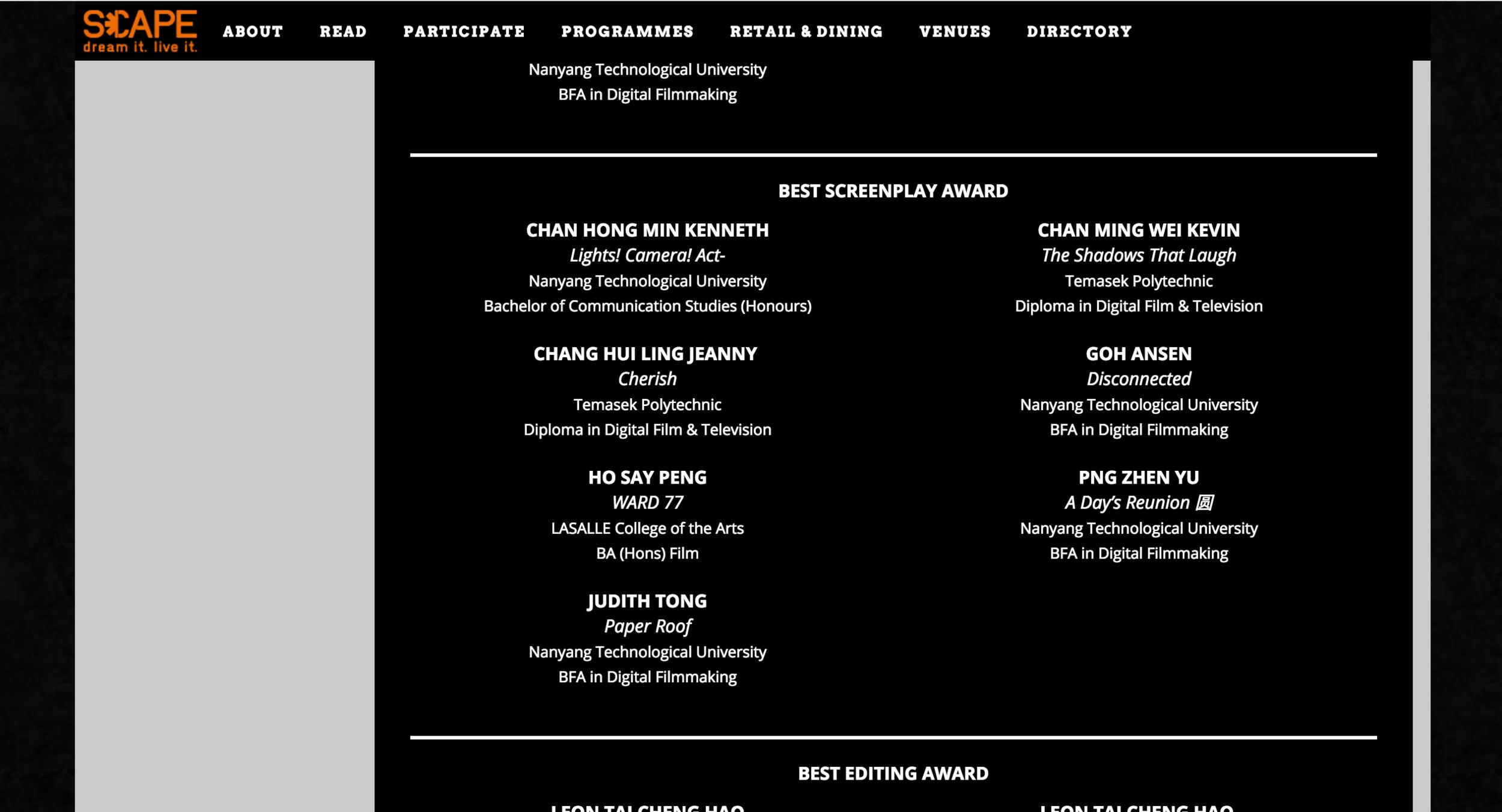 National Youth Film Awards 2017 Nomination