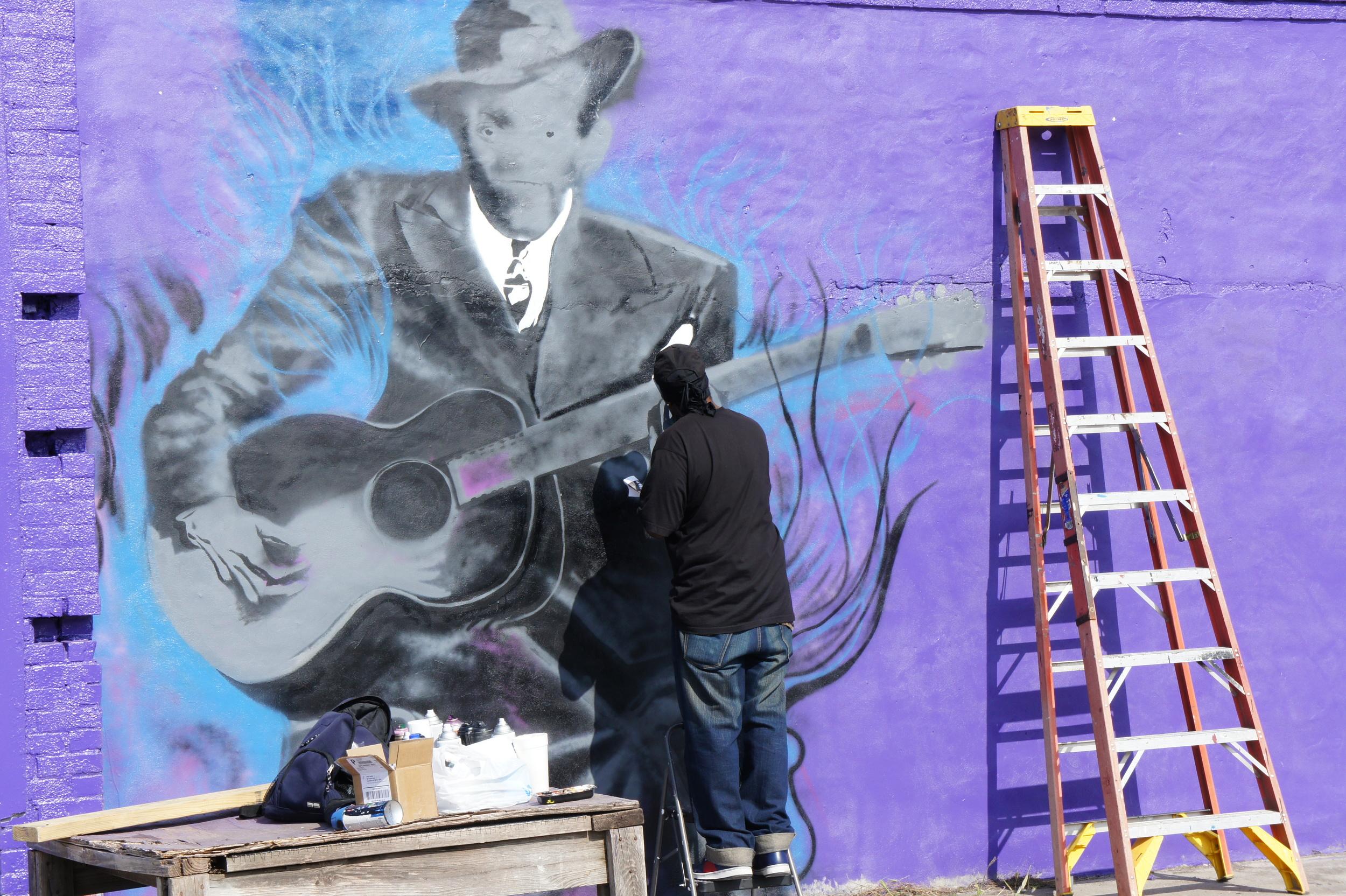 Mural under work in Clarksdale.