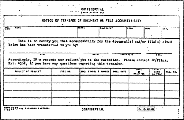 "CIA 2977 ""Notice of TRANSFER OF DOCUMENT OR FILE ACCOUNTABILITY"" used to assign custodianship of Files"