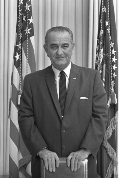 U.S. President Lyndon Johnson in the Cabinet Room at the White House