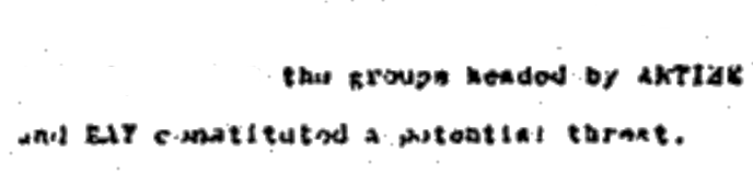 "This Excerpt from A Related CIA Document reveals ""...groups headed by Artime and Ray constituted a Potential Threat"""