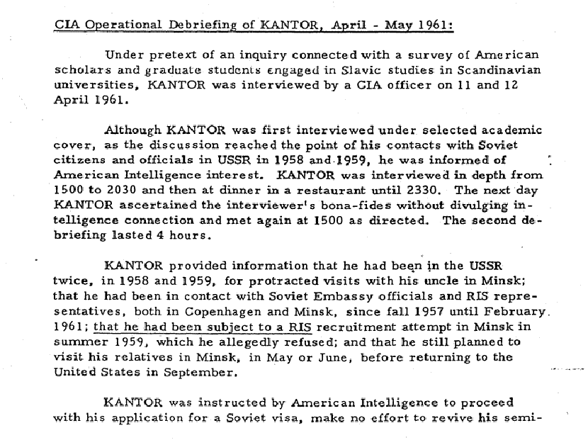 CIA Documentation of Marvin Kantor's DEBRIEFINGs regards His Association with Russian Intelligence