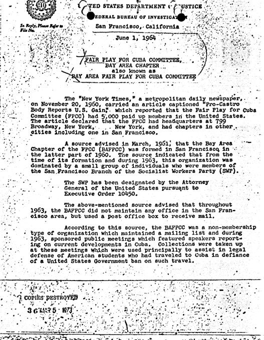 An FBI Memo discussing Member and non Member ASSOCIATED FPCC Groups