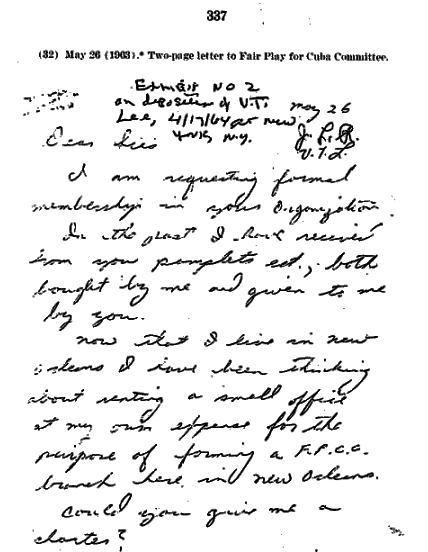 Letter From OSwald Requesting FPCC Membership
