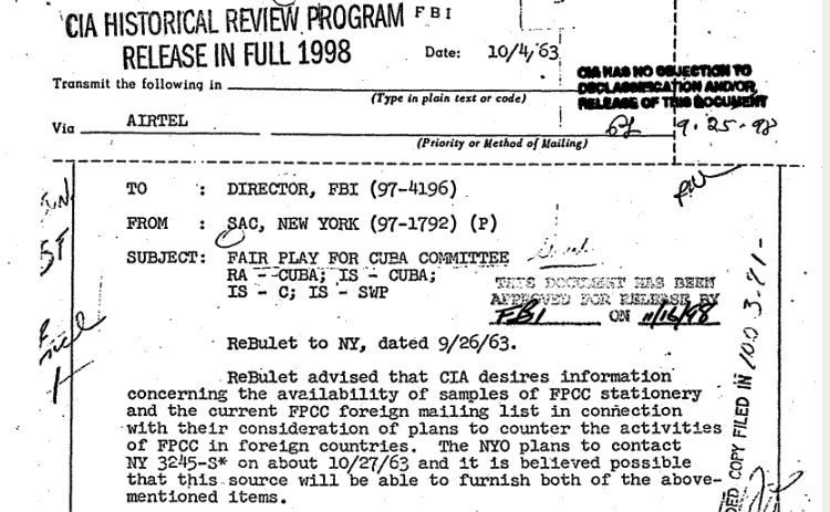 THe CIA desired FPCC Stationary and ITS Foreign Mailing LIst