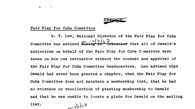 Statement of FPCC CHairman V.T. Lee Disavowing Oswald and his Actions