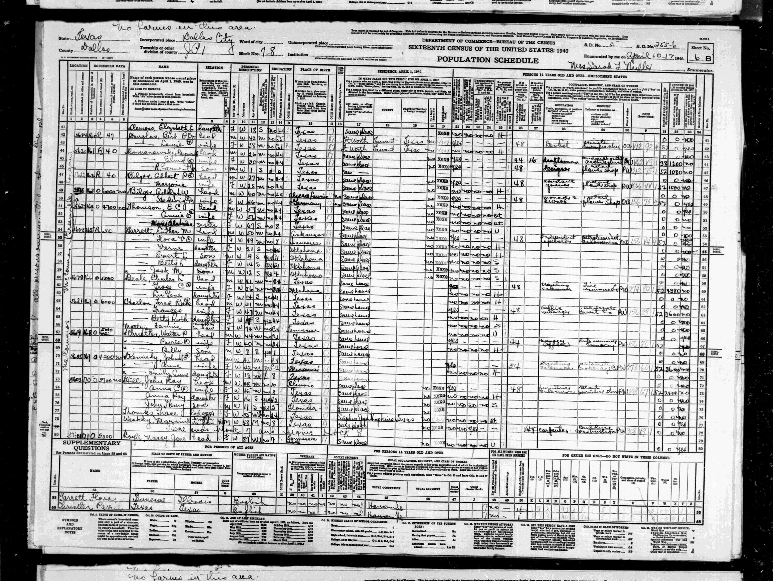 1940 CENSUS REPORT OF THE HILL FAMILY