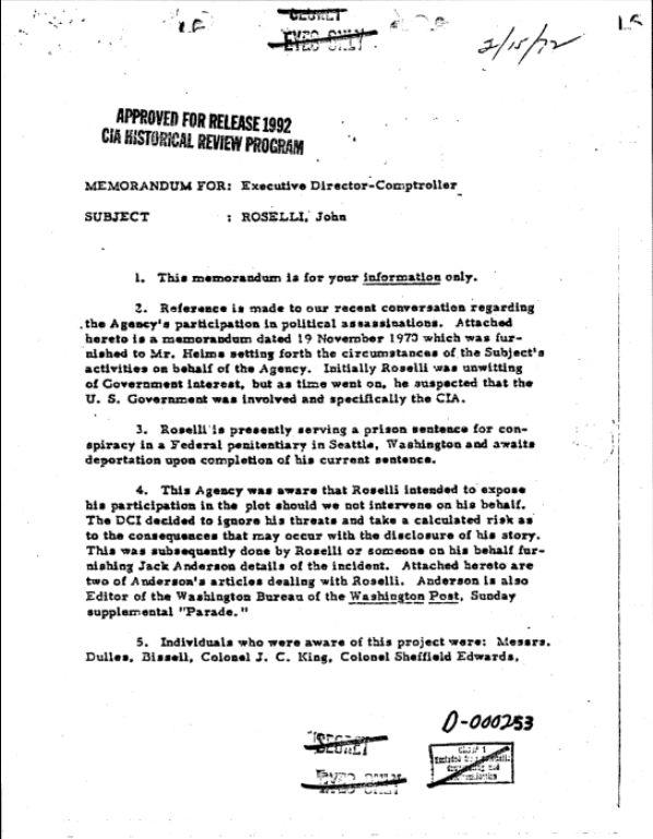 HSCA Seg CIA, Box 1, Roselli, John, (Castro Plots List) p. 1.jpg