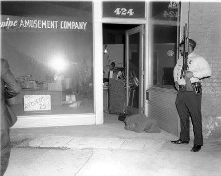 Photo 45- Eastern view of the Canipe Amusement Company from Main Street with evidence being guarded by MPD.jpg