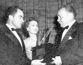 Harvey Conover and Richard Nixon at a public ceremony