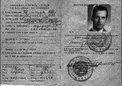 The Soviet Passport of Defector Thomas Mooradian is pictured above