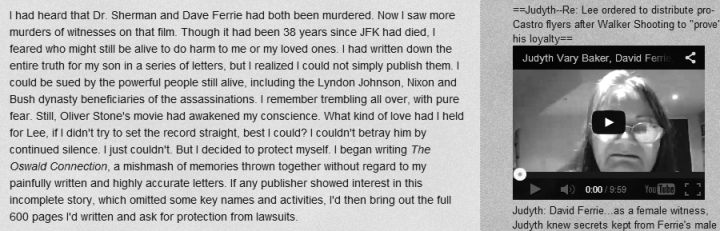"An excerpt from JVB's Blog that States She created a ""Mishmash"" of CLaims that infers her story is a mixture of fact and myths"