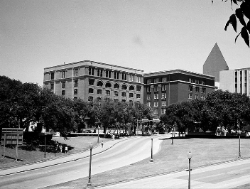 A Southwestern view of Dealey Plaza displaying the end of the Motorcade route near the Texas schoolbook Depository