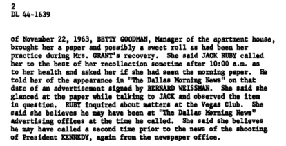 A Portion of Eva Grant's Statement That Establishes JACK Ruby WAS HOME the morning of the Assassination