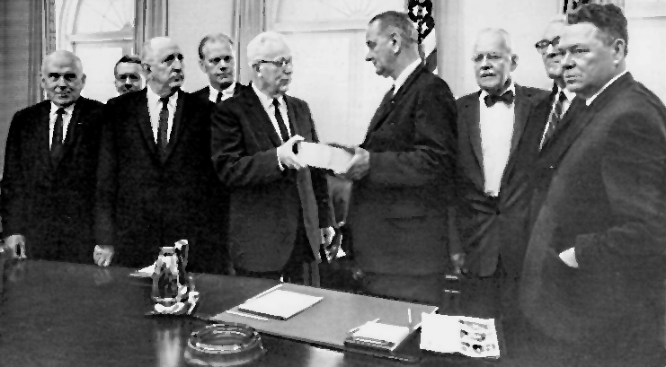 ARTISTIC RENDERING OF LBJ AND the President's COMMISSION MEETING TO Mark THE RELEASE OF ITS REPORT on President Kennedy's Death