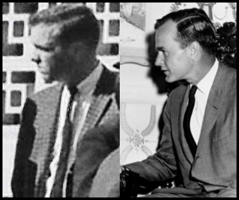 A SPECTATOR SOME CLAIM IS Bush (AT LEFT) GEorge H.W. Bush (AT RIGHT) Differences Between the two MEn are observable in THE Nose, CHIN, and Hairline