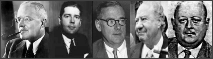 PICTURED ABOVE ARE SOME OF THE CIA OFFICERS AND EMPLOYEES INVOLVED IN THE CASTRO ASSassination PLOTS: (FROM LEFT TO RIGHT) DIRECTOR ALLEN DULLES, OFFICER Desmond Fitzgerald, DEPUTY DIRECTOR FOR PLANS RICHARD BISSELl, AGENT ROBERT MAHEU, and William K. Harvey the CIA's Case OFFICER for Project ZRRIFLE, LEADER OF TASK FORCE W, AND Chief of STAFF D