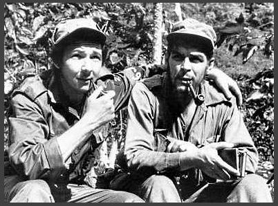 "Raul Modesto Castro Ruz and Ernesto ""Che"" Guevara during 1957"