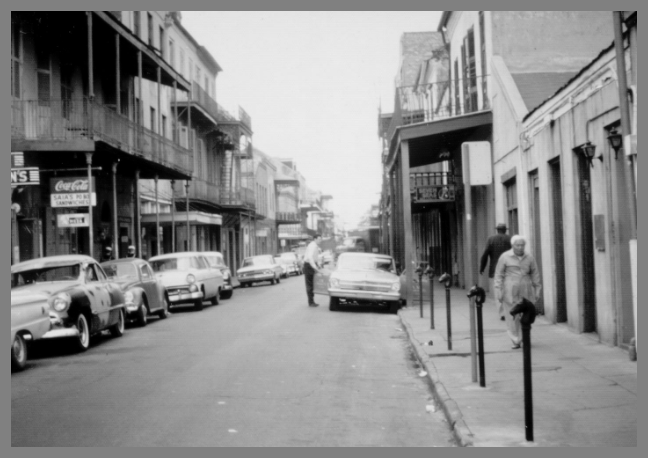 A View From the French Quarter's Bourbon Street during the average Louisiana day in New Orleans Circa 1965