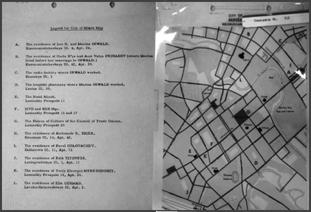 A maP of LEE HArvey Oswald's Travels in Minsk Constructed by Investigating American Officials