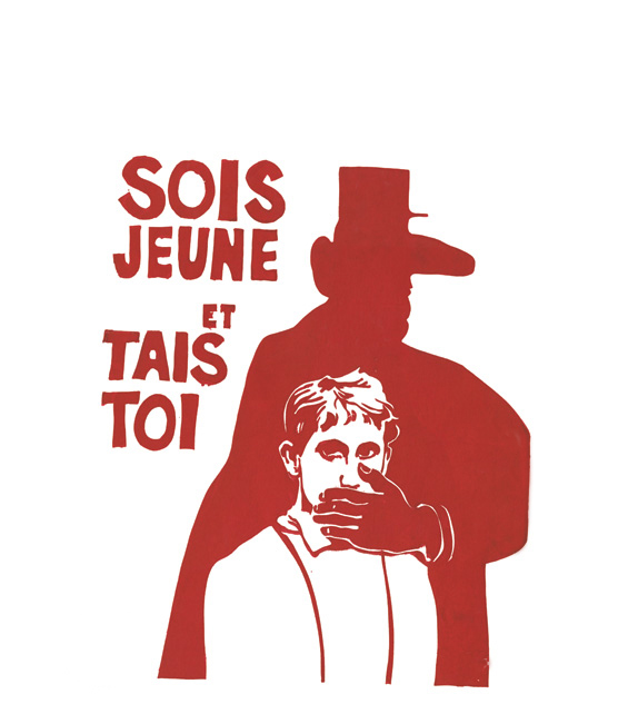 """Sois jeune et tais toi"" -Sei jung und schweige"", Plakat 1968 , Frankreich."