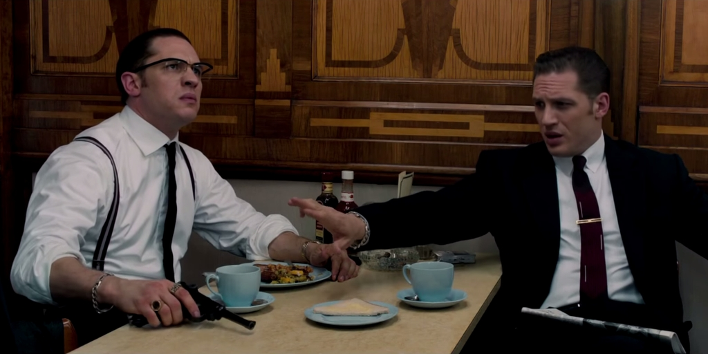 Pictured: Tom Hardy as The Winklevoss Twins                          Source: Studiocanal Australia