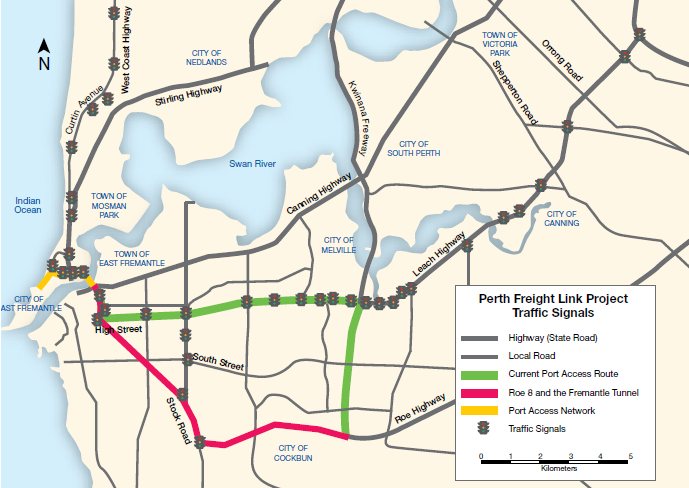 Proposed alignment of Roe 8 and Fremantle Tunnel