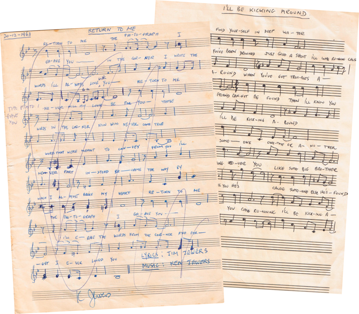 Two of the early draft song scores written between KJ and his dad in the 1960's from a distance of 5,931 miles