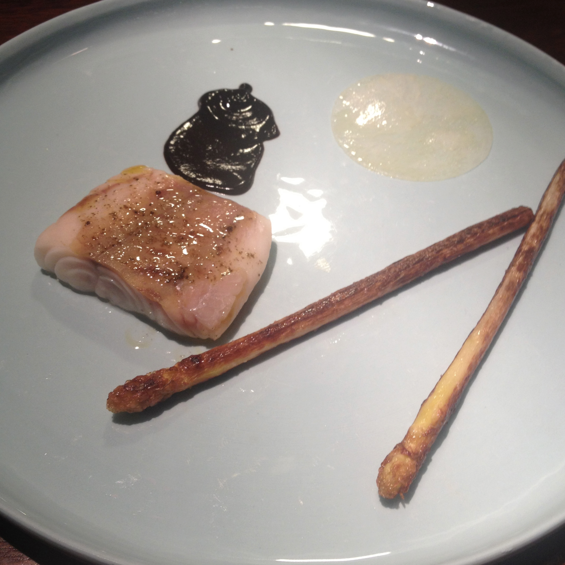 hapuka  white asparagus, black garlic
