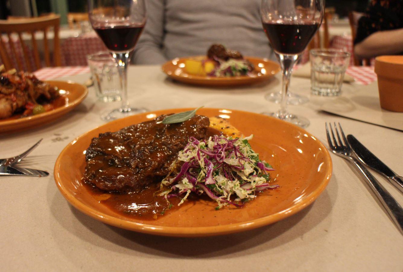 Slow cooked beef cheeks, red wine gravy, grilled polenta and Italian coleslaw