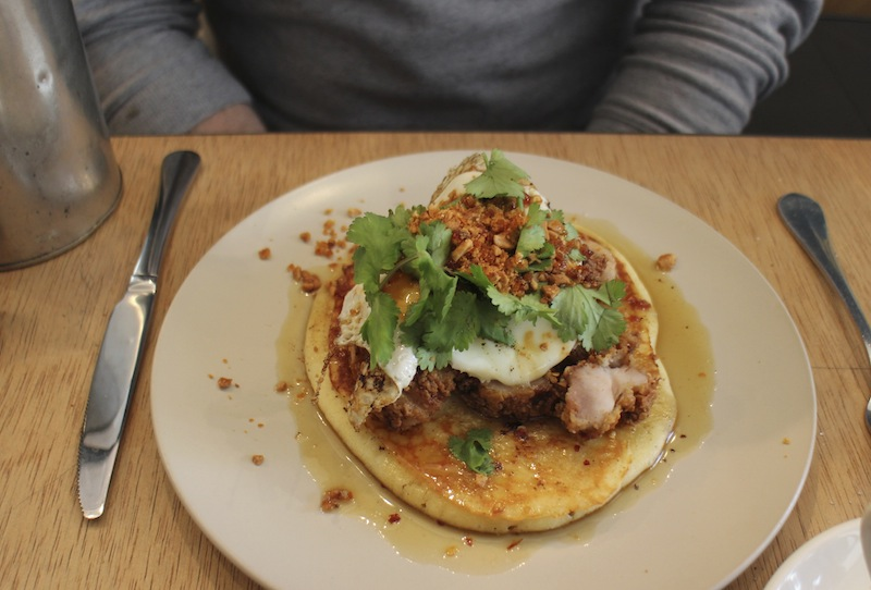 Maple pancake with buttermilk chicken and egg