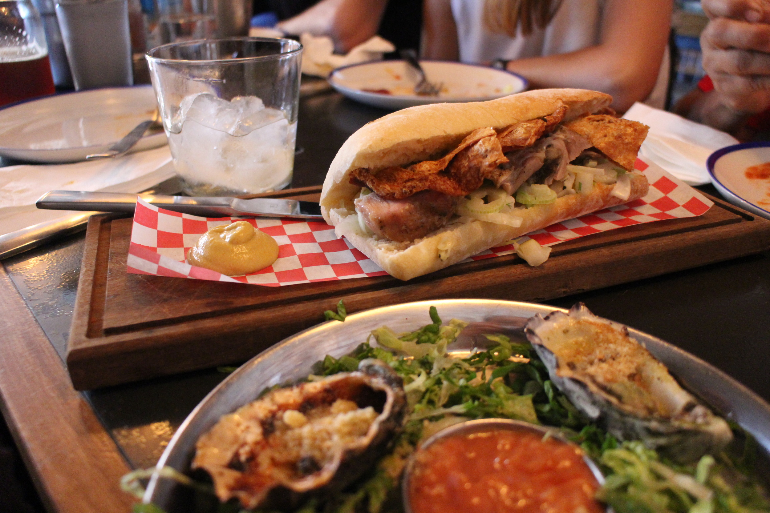 The Argentinian pork sandwich (hello crispy crackling) and a delicious plate of oysters