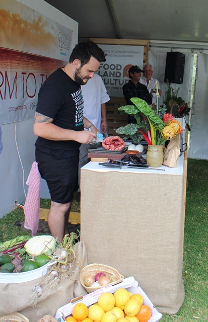 That's Sam Ward cooking up a Blackwood Valley beef heart with ants!