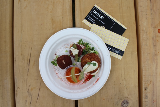 Justin Bell and thePinchos team were serving up an awesome little taster. Surtido de Pintxos Andalucian tomato soup with Px vinegar salt cod & potato croquette with goats cheese and  honey chocolate and fig truffle