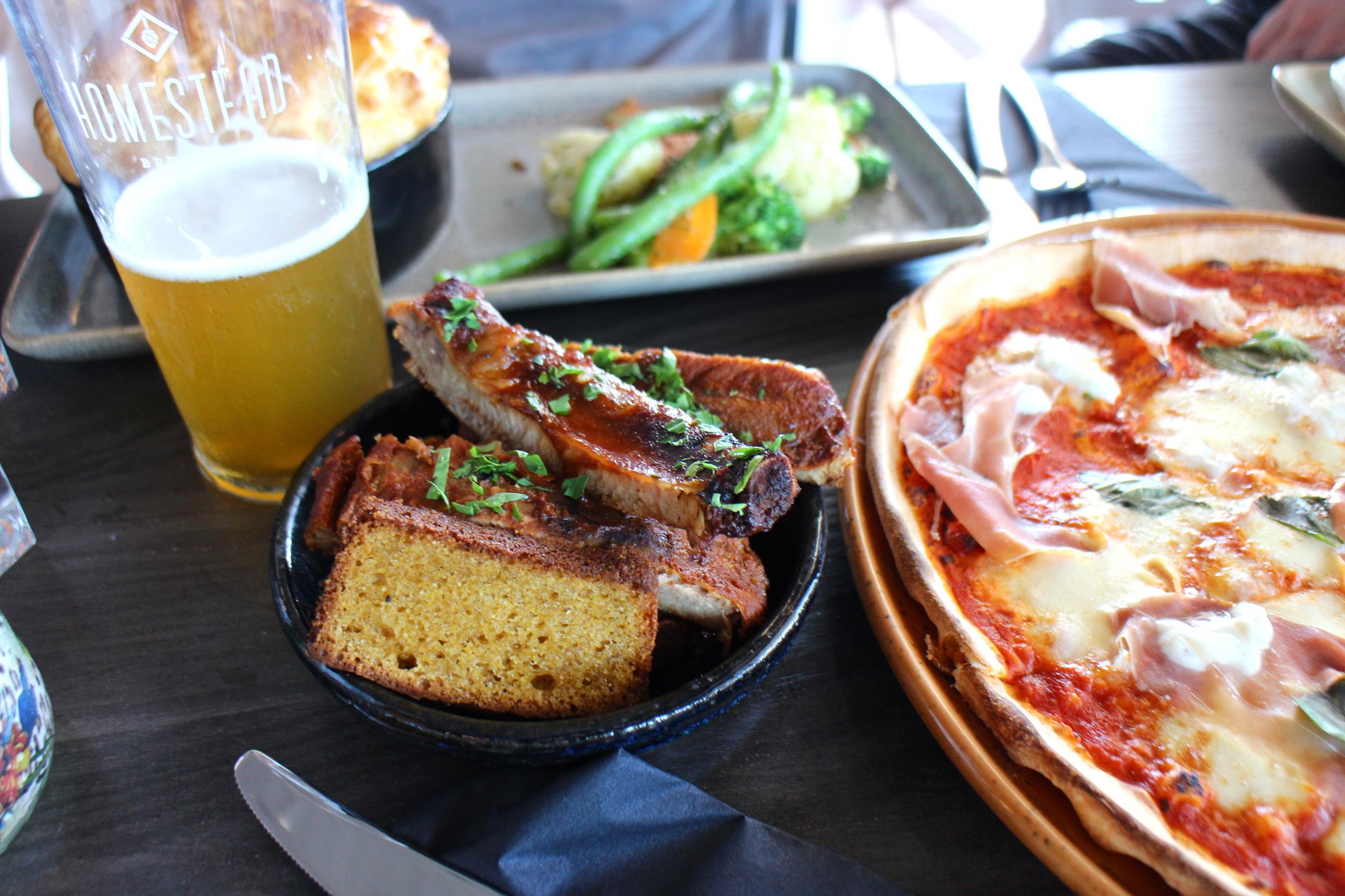 Marinated pork ribs, corn bread