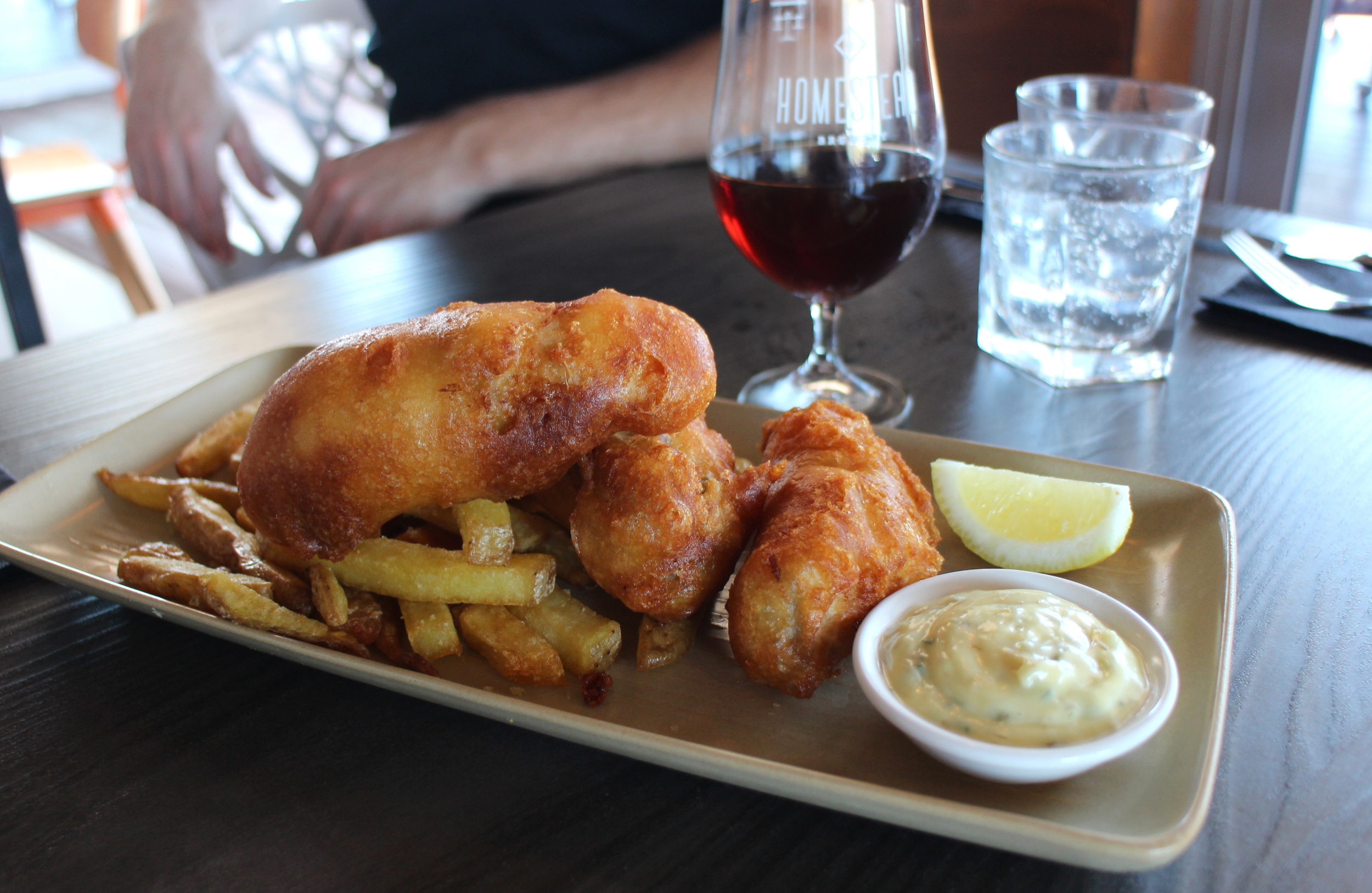 Beer battered goldband snapper with chips