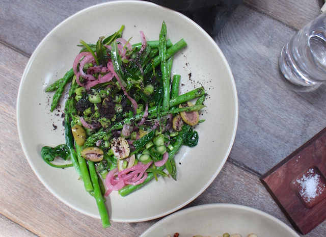 asparagus, green olive, red onion, spinach, tarragon