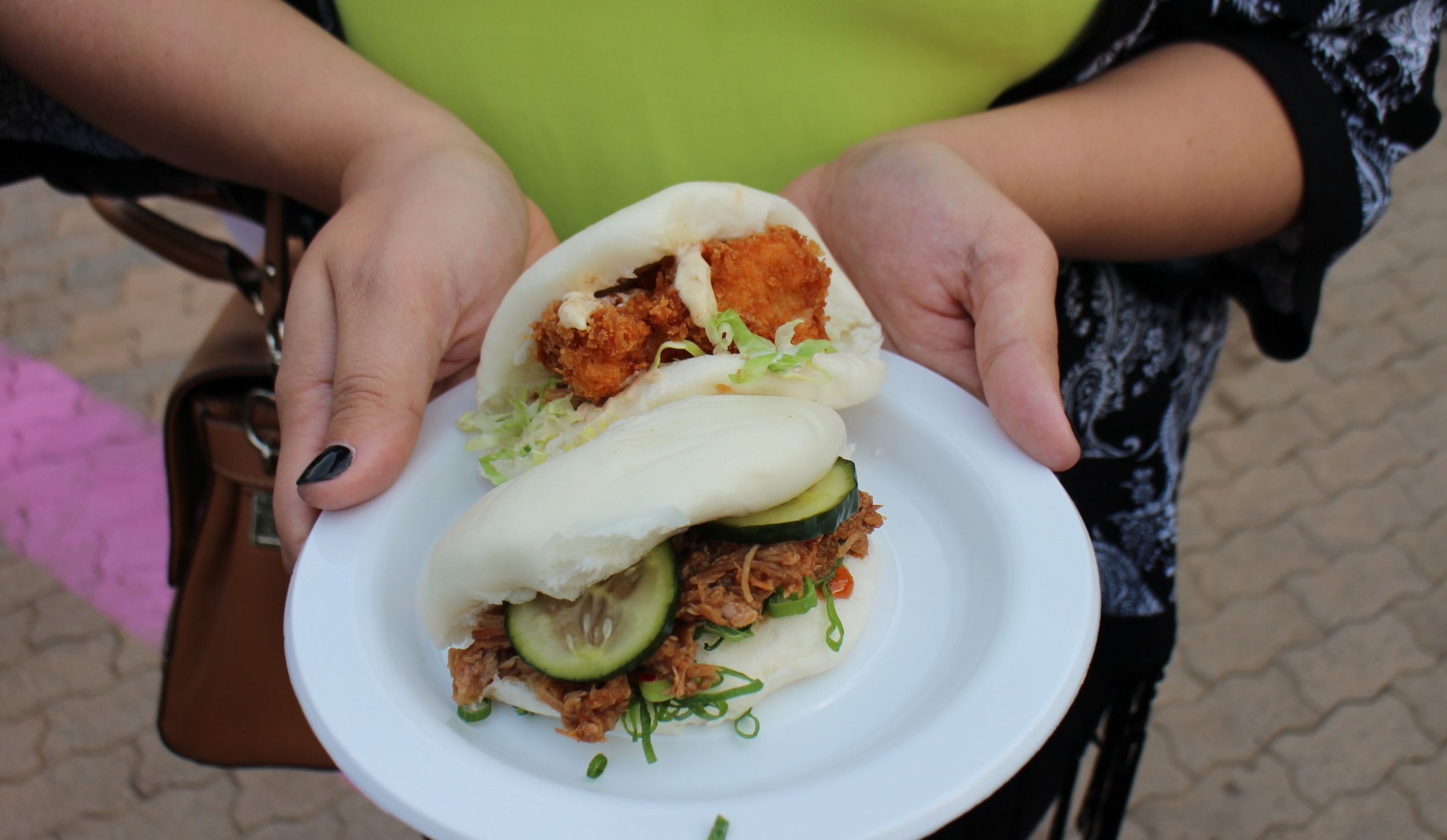 Who: Lucky Chan's Noodle & Laundry (almost open in Northbridge)   Where: Urban Orchard   What: Bao Chicka Wow Wow - Panko crumbed chicken, sesame mayo and kimchi and Red braised pulled pork, pickled cucumber and charsui.  Tip: Definitely order both and devour them yourself! I'll be going back to try the ramen