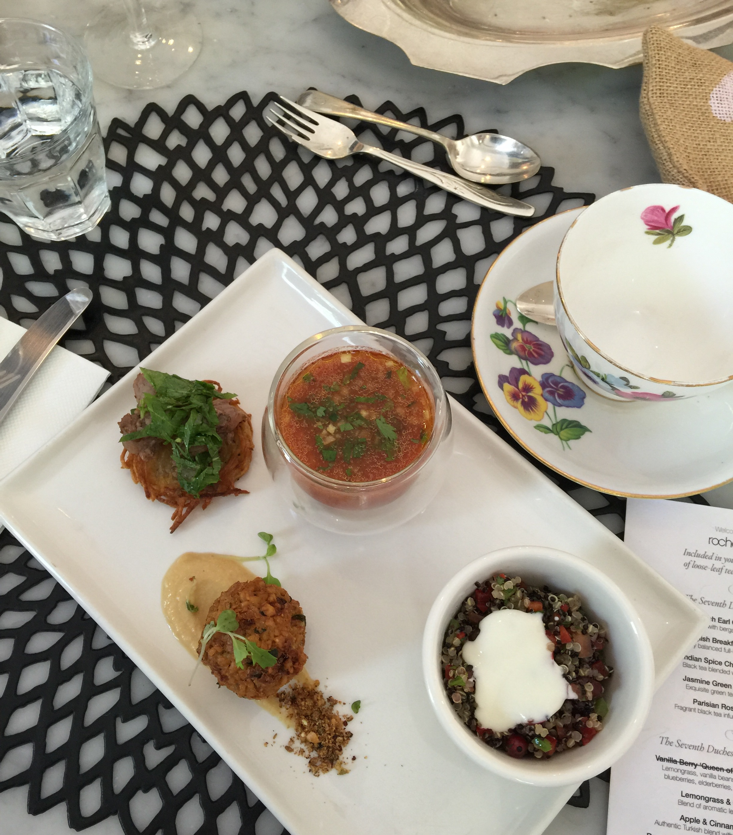 Savoury plate - potato rosti with lamb, gazpacho, quinoa, savoury bite