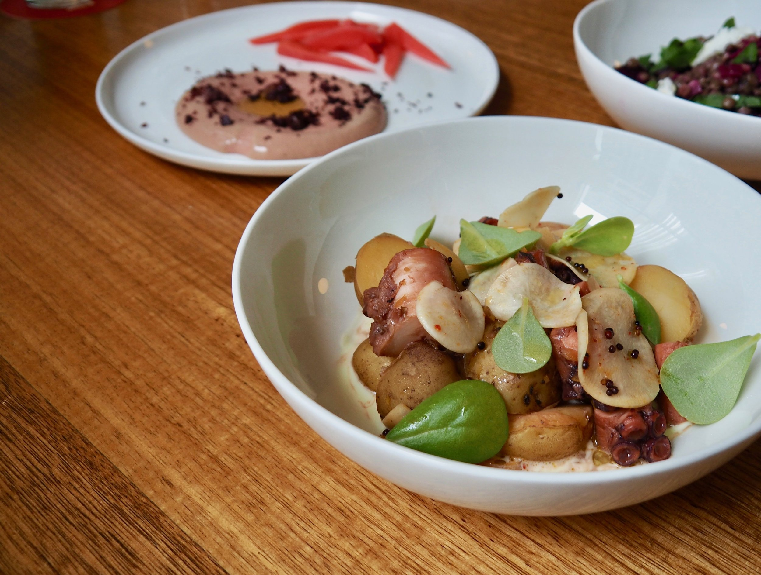 Octopus with new potatoes and turnip escabeche
