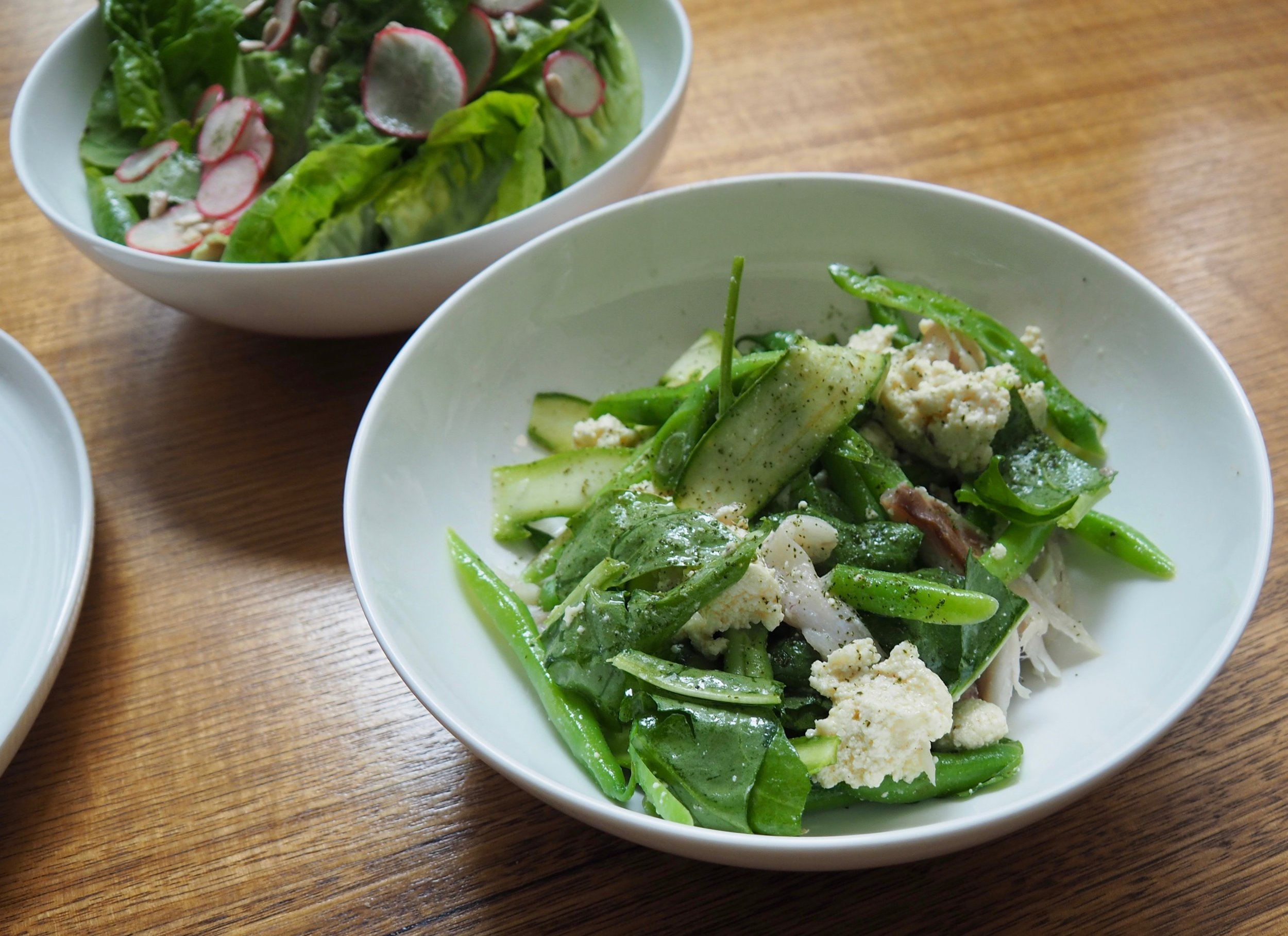Beans, zucchini and ricotta with smoked trevally