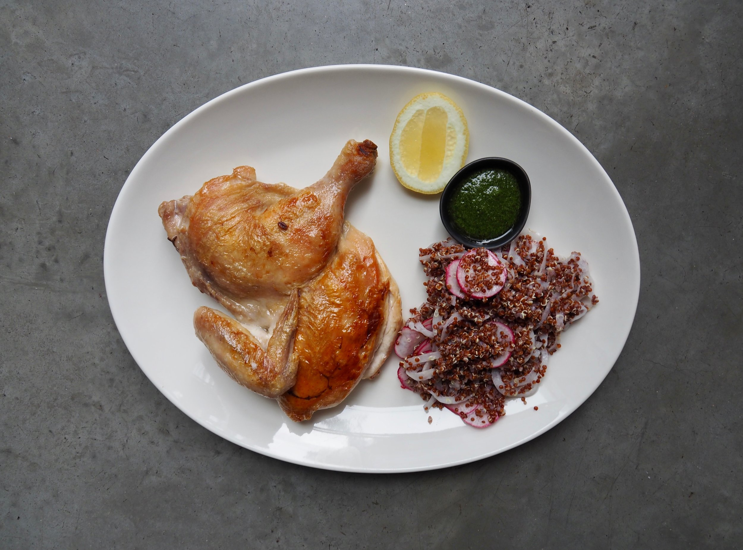 Half roast chicken, quinoa, radish and yoghurt