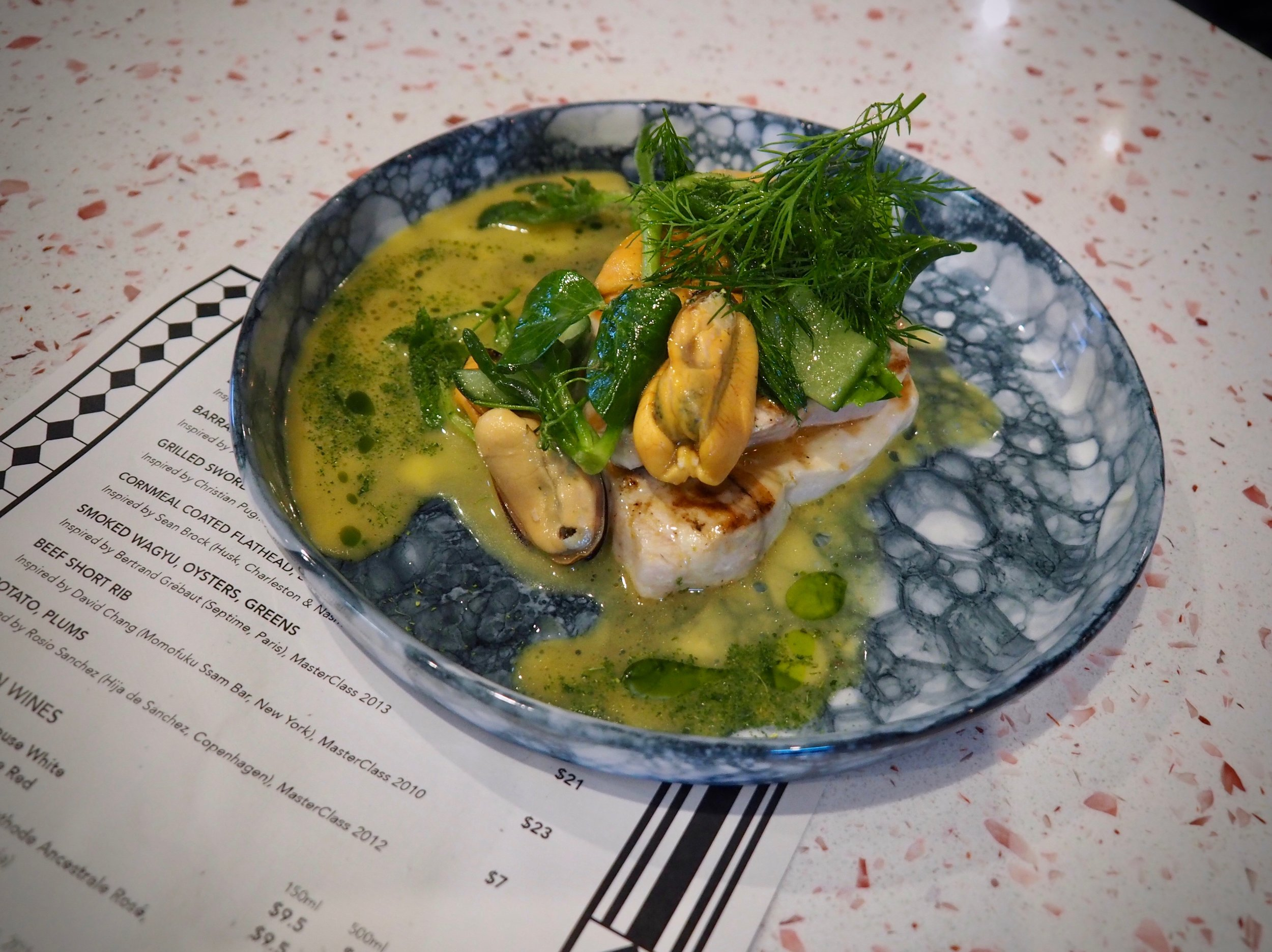 Grilled Swordfish, Parsley, Mussels - inspired by Christian Puglisi (Relæ, Cophenhagen), MasterClass 2012