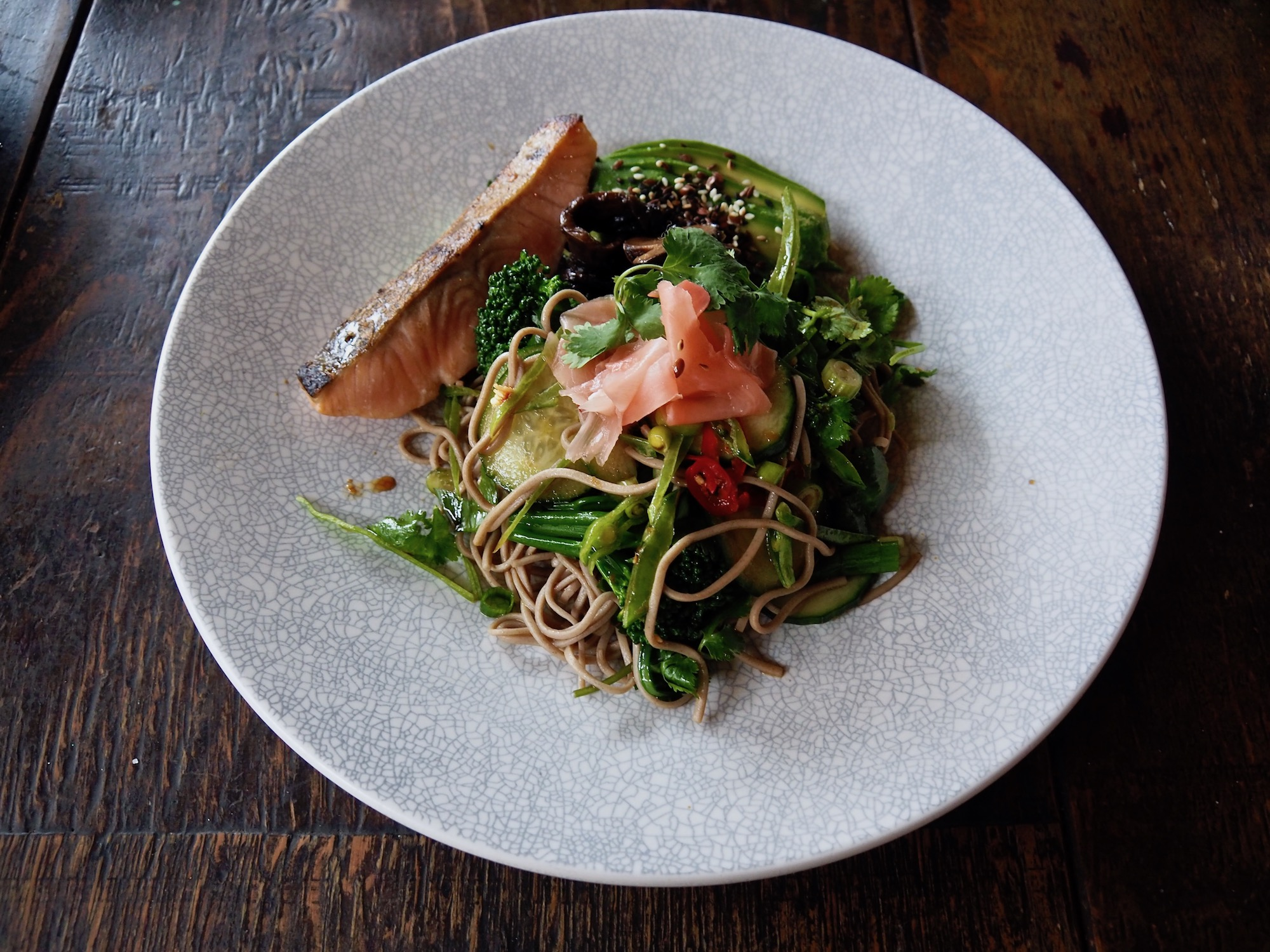 Good Vibes in this green bowl... Soba noodles, sesame, broccolini, snow peas, hass avo, teriyaki, pickled mushrooms, fresh chilli, smoked trout