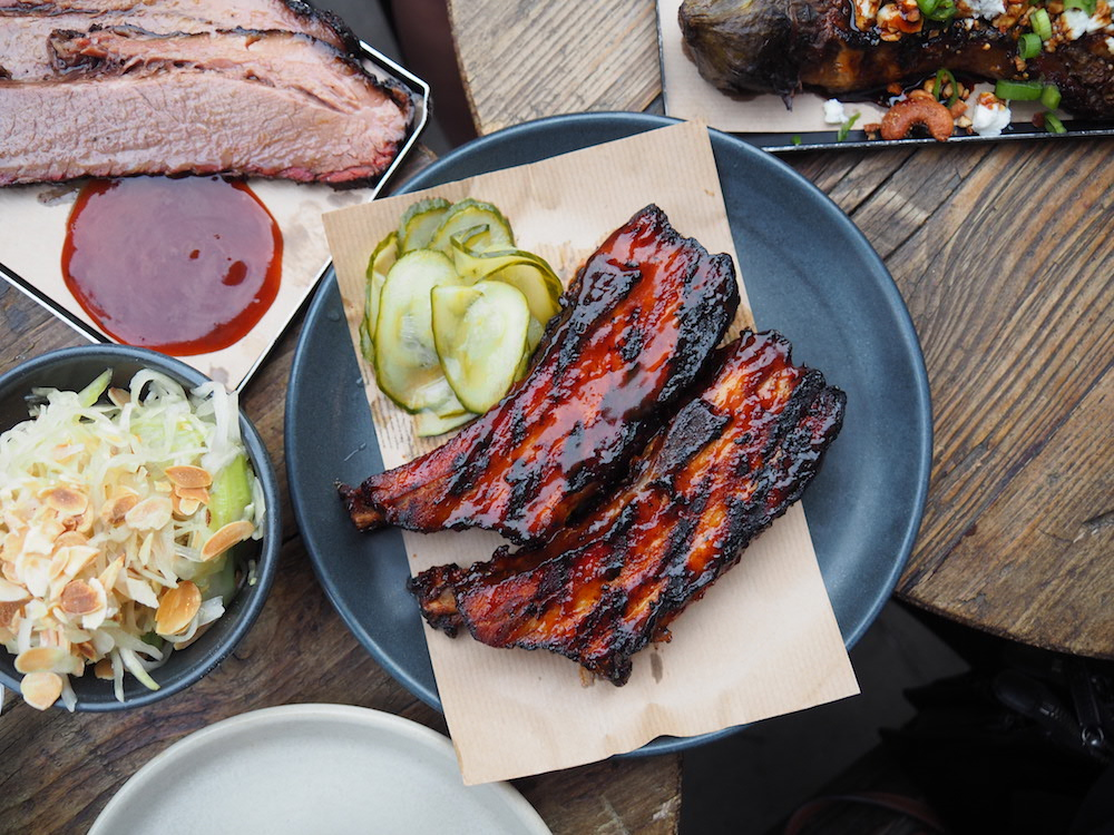Thick-cut pork ribs, pickled cucumber