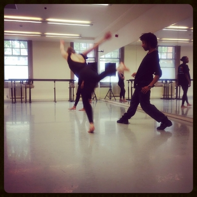 Miguel working with one of the dancers