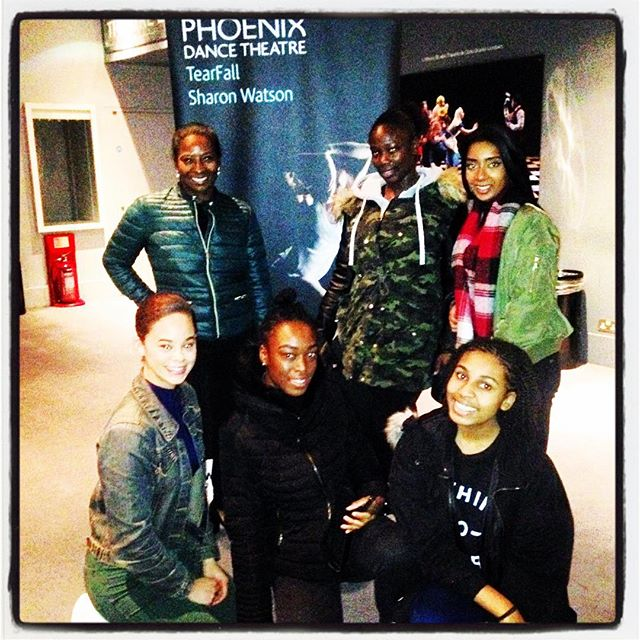 The dancers with Phoenix Dance Theatre Artistic Director, Sharon Watson